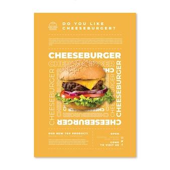 Plantilla de cartel de comida americana con hamburguesa