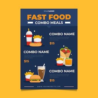 Plantilla de cartel de comida rápida de comidas combinadas