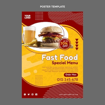Plantilla de cartel de comida rápida de diseño plano
