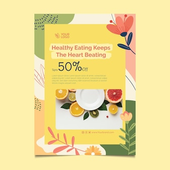 Plantilla de cartel de comida sana y bio