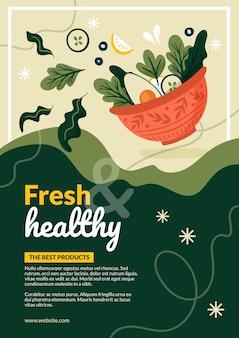 Plantilla de cartel de comida sana fresca