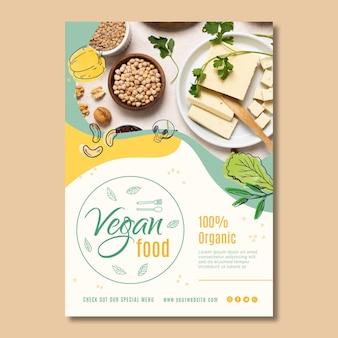 Plantilla de cartel de comida vegana