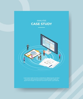 Plantilla de cartel de concepto de estudio de caso con ilustración de vector de estilo isométrico