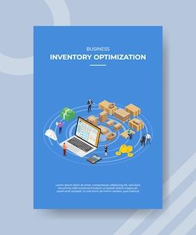 Plantilla de cartel de concepto de optimización de inventario con ilustración de vector de estilo isométrico