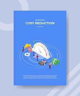 Plantilla de cartel de concepto de reducción de costos con ilustración de vector de estilo isométrico