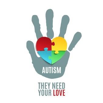 Plantilla de cartel de concienciación sobre el autismo.