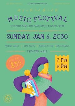 Plantilla de cartel de concierto colorido con gráfico plano de músico acordeonista