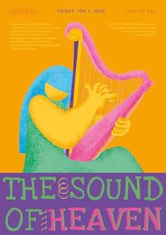 Plantilla de cartel de concierto colorido con gráfico plano de músico arpista