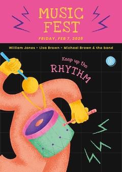 Plantilla de cartel de concierto colorido con gráfico plano de músico baterista