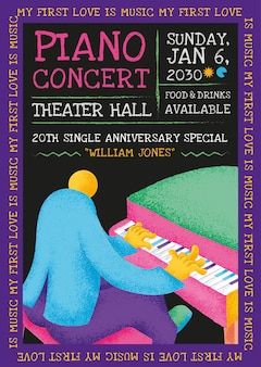 Plantilla de cartel de concierto colorido con gráfico plano de músico pianista