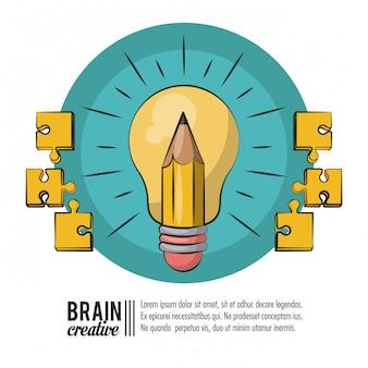 Plantilla de cartel creativo cerebro