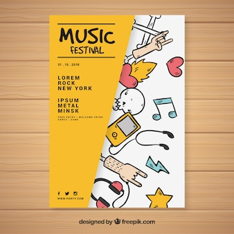 Plantilla de cartel creativo de festival de música