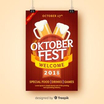 Plantilla de cartel creativo del oktoberfest