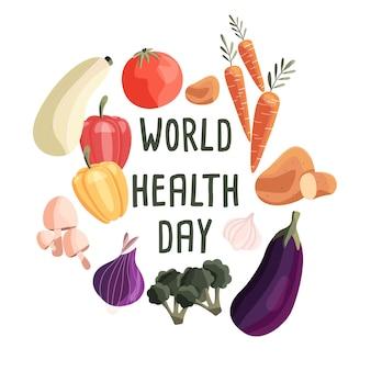 Plantilla de cartel cuadrado del día mundial de la salud con colección de verduras orgánicas frescas