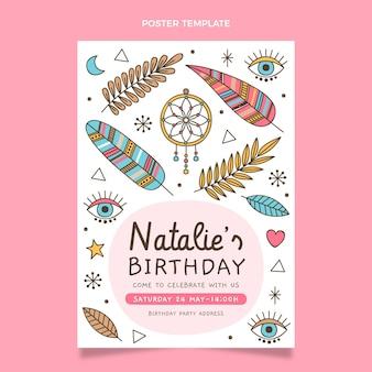 Plantilla de cartel de cumpleaños boho dibujado a mano