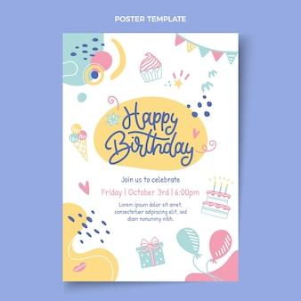 Plantilla de cartel de cumpleaños infantil dibujado a mano