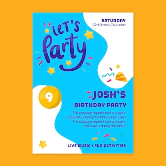Plantilla de cartel de cumpleaños infantil