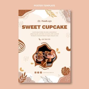 Plantilla de cartel de cupcake dulce de diseño plano