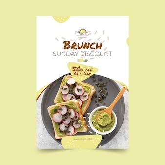 Plantilla de cartel de delicioso brunch