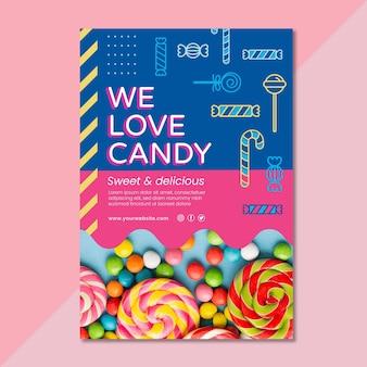 Plantilla de cartel de delicioso caramelo