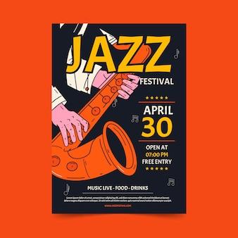 Plantilla de cartel del día internacional del jazz dibujado a mano