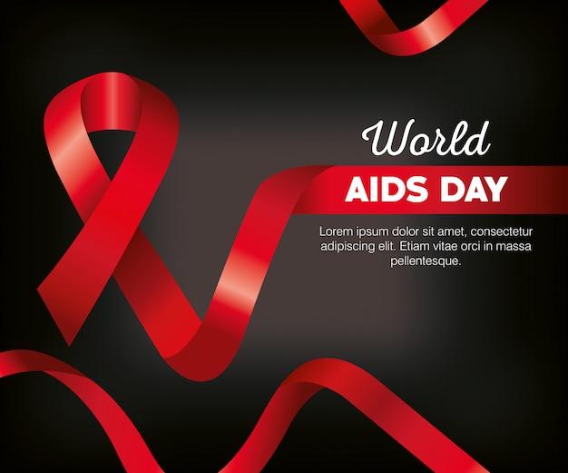 Plantilla de cartel del día mundial del sida con cinta