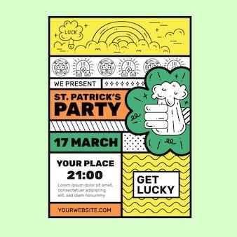 Plantilla de cartel de día de san patricio de diseño plano