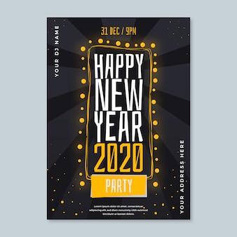 Plantilla de cartel dibujado a mano de fiesta de año nuevo