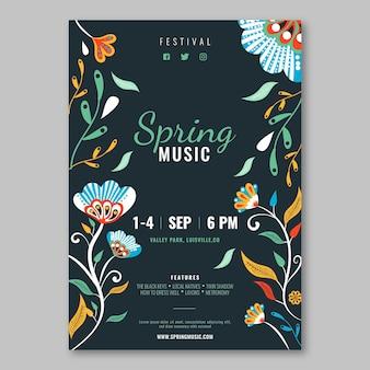 Plantilla de cartel dibujado a mano de música de primavera