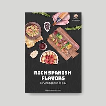 Plantilla de cartel con diseño de concepto de cocina española para folleto y folleto ilustración acuarela