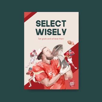 Plantilla de cartel con diseño de concepto de deporte de super bowl para folleto y publicidad de ilustración de vector de acuarela.