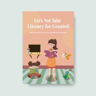 Plantilla de cartel con diseño de concepto del día internacional de la alfabetización para folletos y folletos de acuarela.
