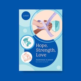 Plantilla de cartel con diseño de concepto del día mundial del cáncer para marketing y publicidad ilustración vectorial de acuarela.