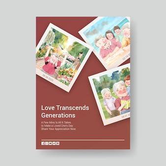 Plantilla de cartel con diseño de concepto del día nacional de los abuelos para publicidad y folletos de acuarela.