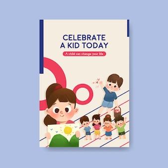 Plantilla de cartel con diseño de concepto del día del niño.