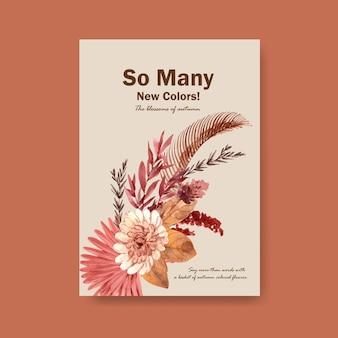 Plantilla de cartel con diseño de concepto de flor de otoño para folleto y marketing ilustración acuarela.