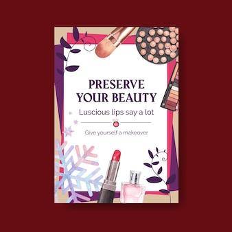 Plantilla de cartel con diseño de concepto de maquillaje para folletos y folletos de acuarela.