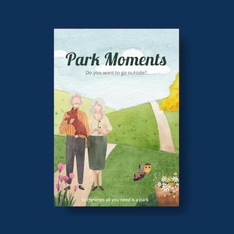 Plantilla de cartel con diseño de concepto de parque y familia para folleto y folleto ilustración acuarela