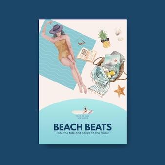 Plantilla de cartel con diseño de concepto de vacaciones en la playa para ilustración de acuarela de folleto