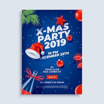 Plantilla de cartel de diseño de fiesta de feliz navidad