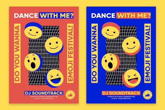 Plantilla de cartel de diseño plano de cartel de emoji ácido
