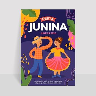 Plantilla de cartel de diseño plano festa junina