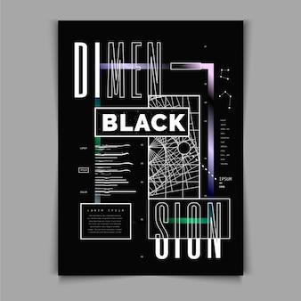 Plantilla de cartel de diseño plano y2k
