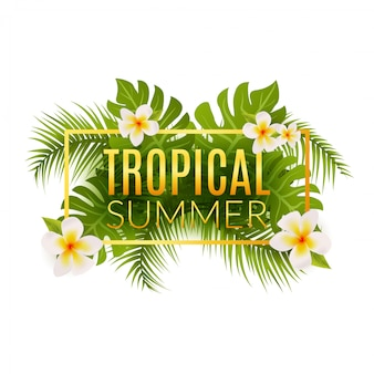 Plantilla de cartel de diseño de verano tropical. vacaciones de verano con hojas y flores. paraíso de la selva