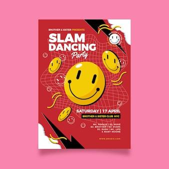 Plantilla de cartel de emoji ácido de diseño plano