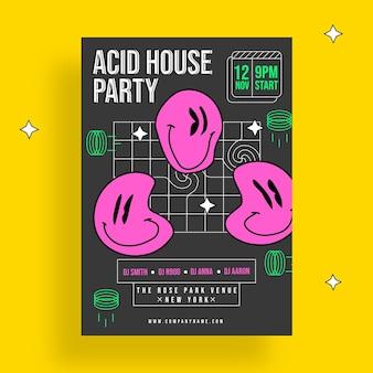 Plantilla de cartel de emoji de fiesta ácida de diseño plano