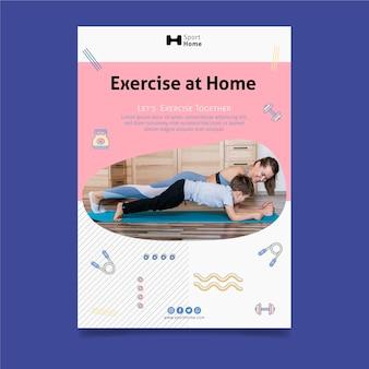 Plantilla de cartel de entrenamiento en casa en familia
