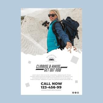 Plantilla de cartel de escalada con foto