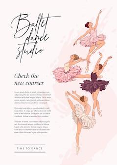 Plantilla de cartel de escuela de ballet