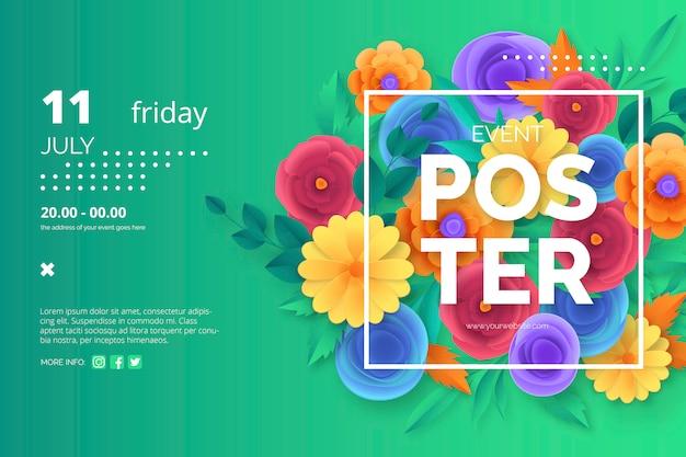 Plantilla de cartel de evento con coloridas flores de corte de papel